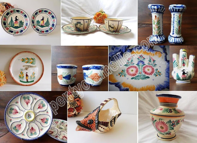 French Henriot Quimper Ware.Find out more about Vintage Breton Art Pottery and Eclectic collection from Henriot Factory in Brittany France