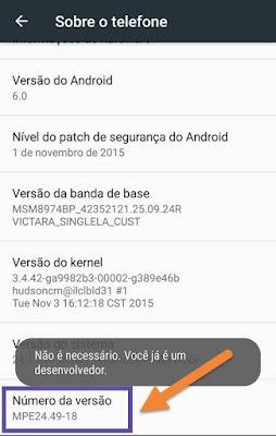 Opção Sobre o telefone do Android