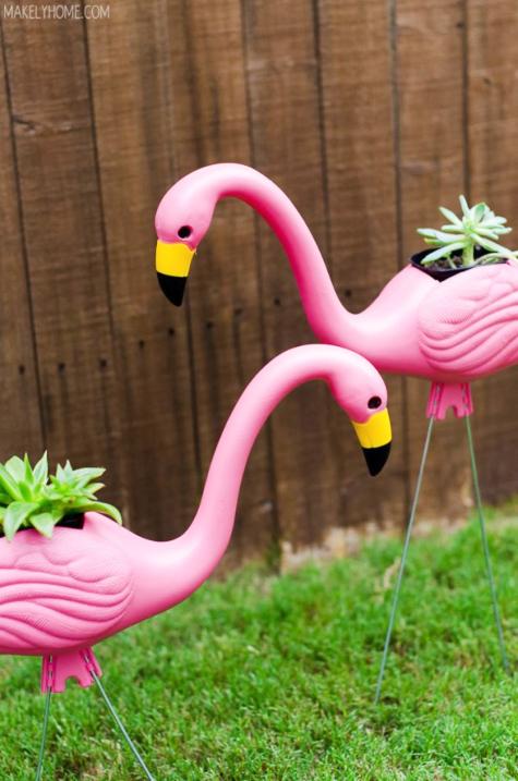 DIY Pink Plastic Flamingo Planter Idea