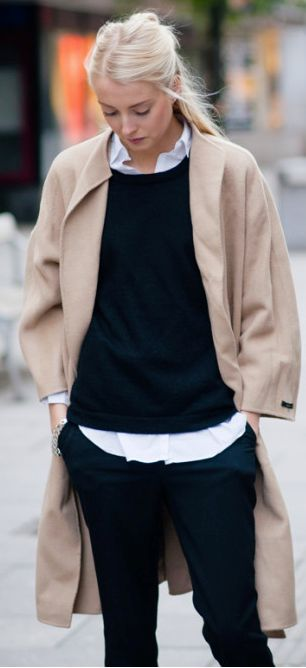 fall fashion inspirtion / coat + shirt + pants + sweater