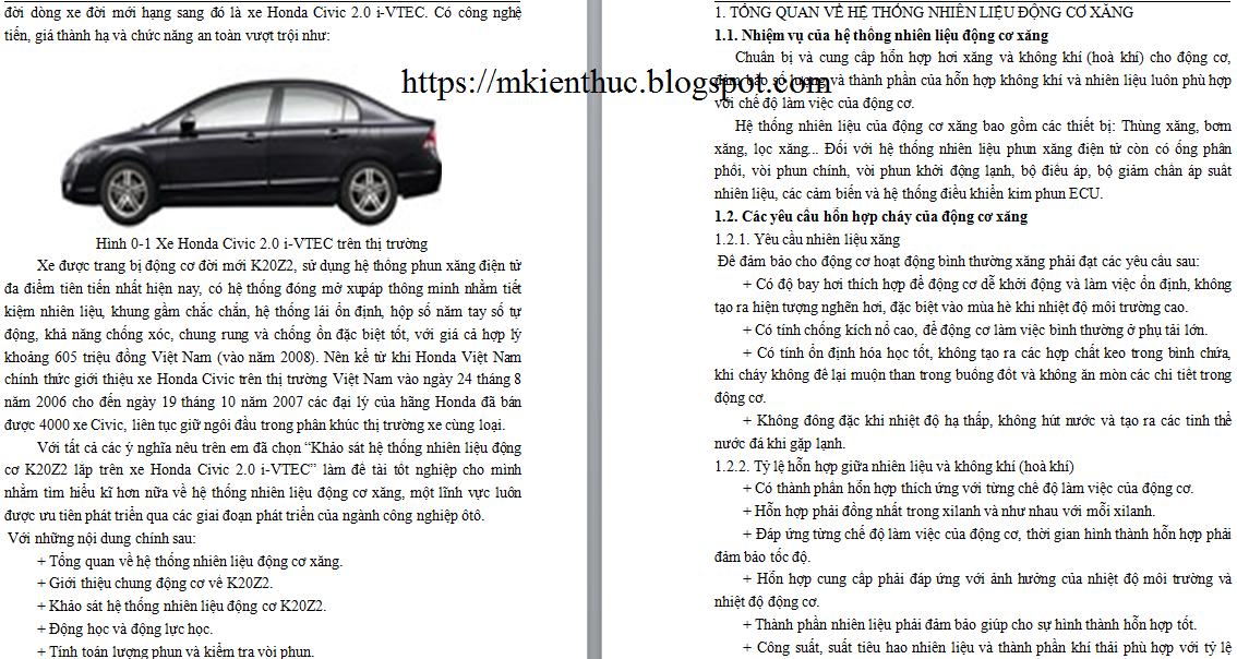 Khảo sát hệ thống nhiên liệu động cơ K20Z2 lắp trên xe ôtô Honda Civic 2.0 i-VTEC