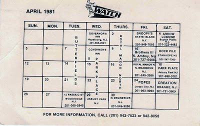 The Watch club calendar for April 1981