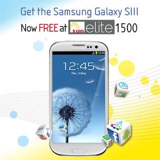 Samsung Galaxy S3 free from Sun postpaid Elite Plan 1500