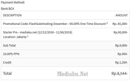 Pembayaran Hosting IdCloudHost