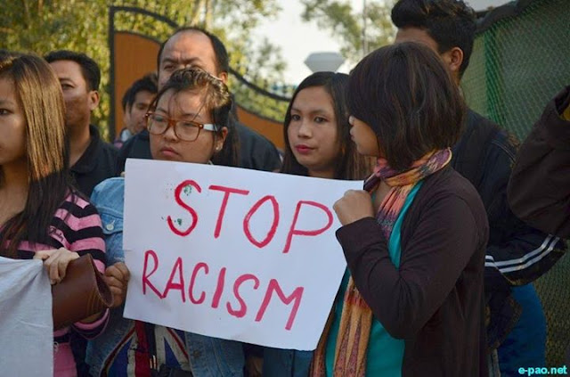 Manipuris protesting against racism in Delhi Via ePao