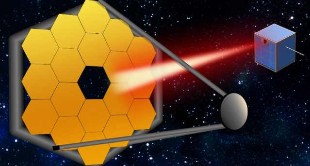"In the coming decades, massive segmented space telescopes may be launched to peer even closer in on far-out exoplanets and their atmospheres. To keep these mega-scopes stable, MIT researchers say that small satellites can follow along, and act as ""guide stars,"" by pointing a laser back at a telescope to calibrate the system, to produce better, more accurate images of distant worlds.  Image: Christine Daniloff, MIT"