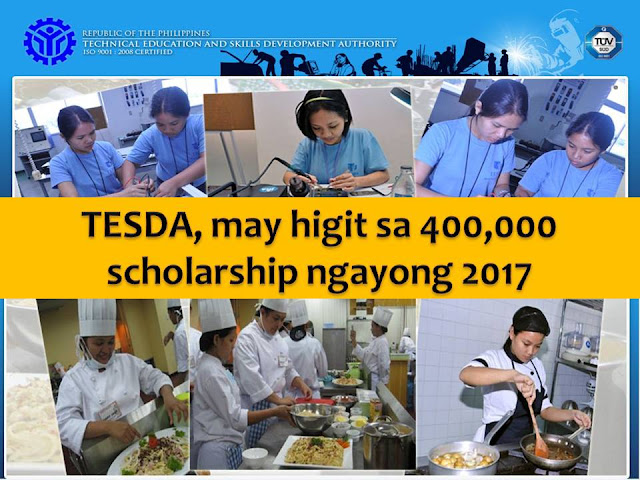 With President Rodrigo Duterte's goal to provide skills training to all Filipinos, the Technical Education and Skills Development Authority (TESDA) has more than 300,000 scholarships to give nationwide this 2017.  In Luzon, TESDA eyes 100,000 scholars from National Capital Region (NCR) and Calabarzon (Cavite, Laguna, Batangas, Rizal, Quezon) this year.