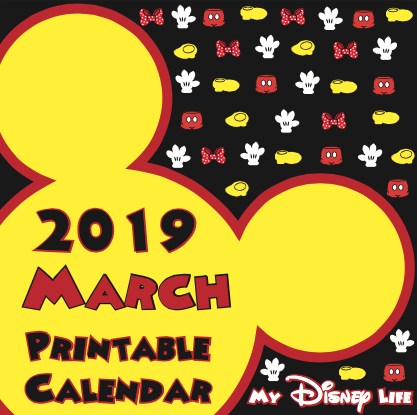 photograph regarding Disney Printable Calendar titled My Disney Existence: March 2019 Calendar