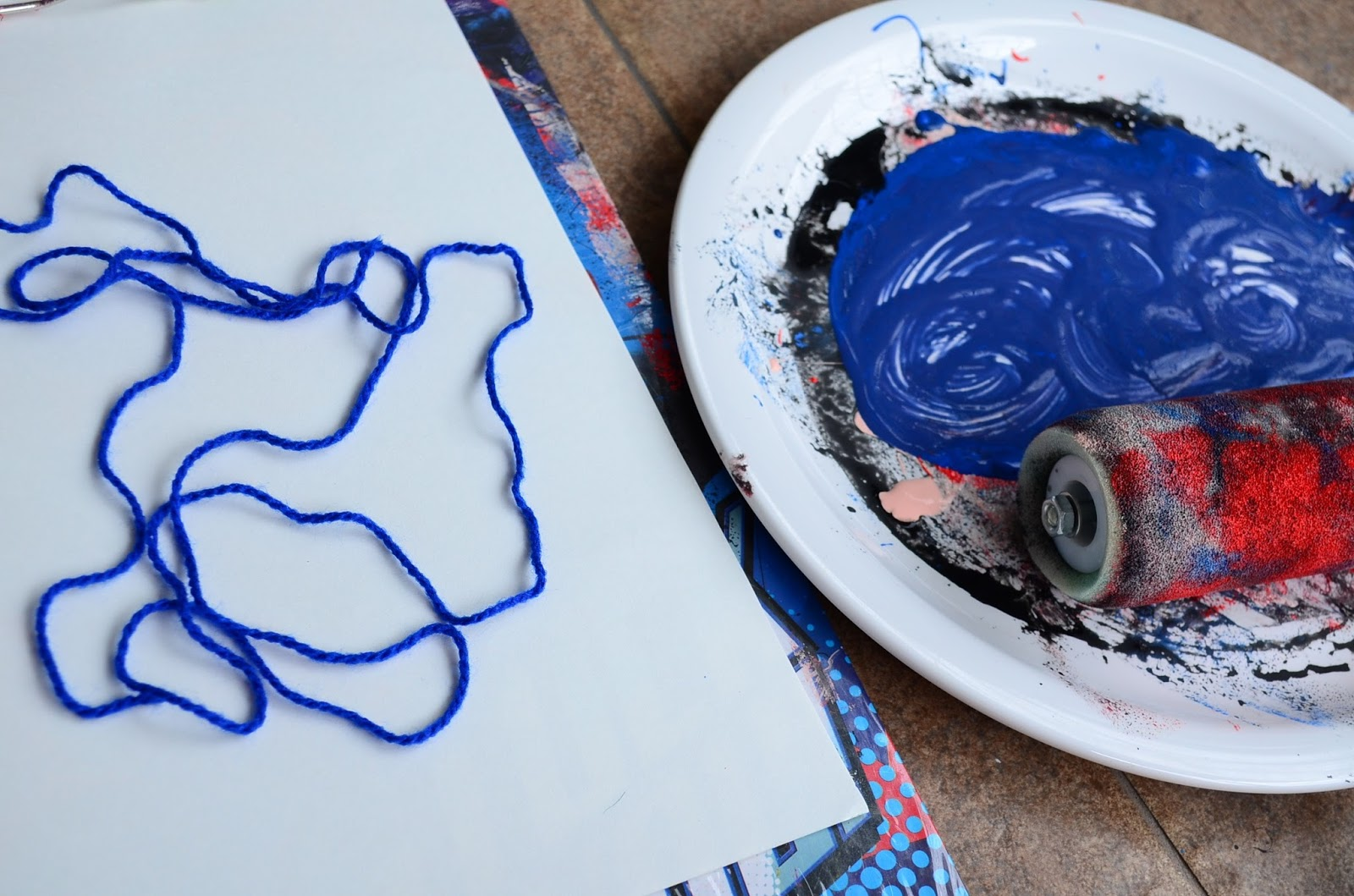 The Practical Mom: Yarn Prints in Preschooler Art