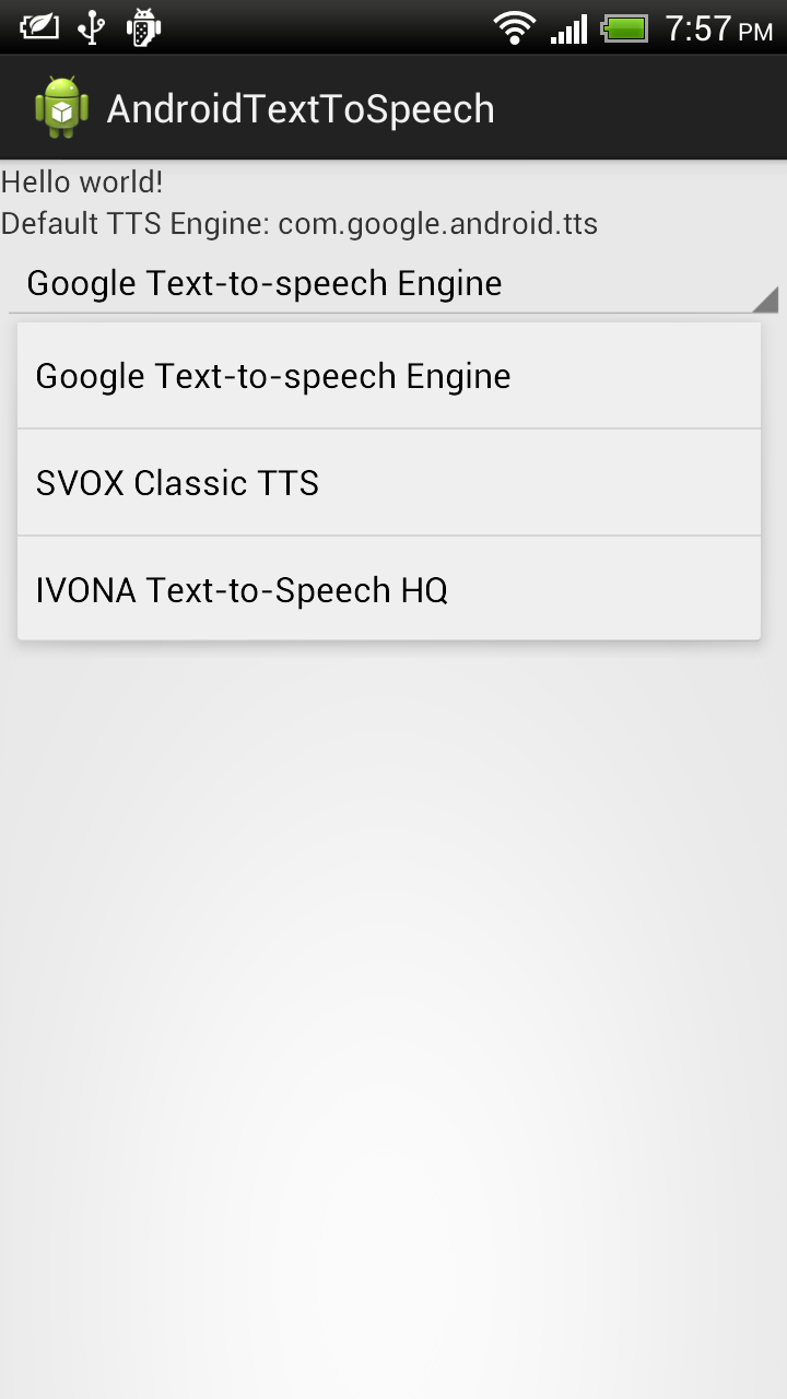 Android Coding: Get installed TTS engines, by calling
