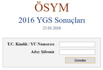 2016 ygs sınav sonucu sorgulama sayfası