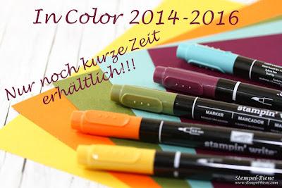 Incolor 2014-2016; Honiggelb; Lagunenblau; Brombeermousse; Waldmoos; Orangentraum; Stampinup Auslaufliste 2016; Nachfülltinten In Color 2014-2016; Stempel-biene