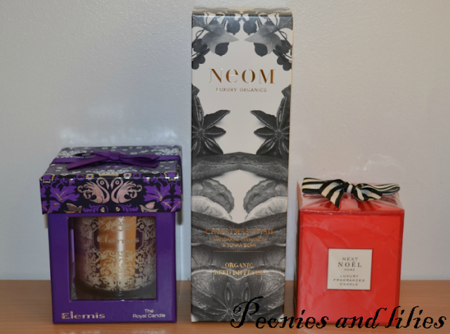 Elemis the royal candle, Neom christmas wish organic reed diffuser, Next Noel luxury fragranced candle, Festive scents, Christmas scents, Elemis the royal candle review, Neom christmas wish organic reed diffuser review, Next Noel luxury fragranced candle review, Scented candles, Christmas fragrances