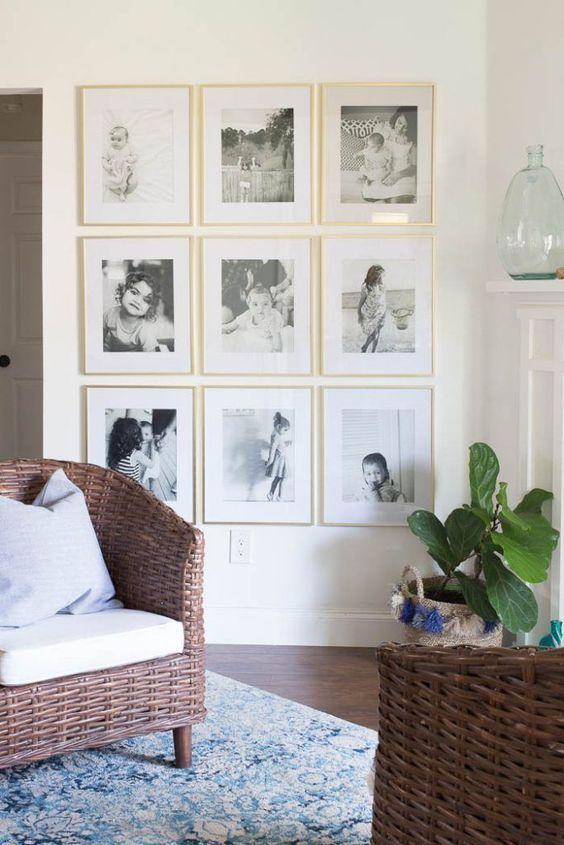 family grid style gallery wall, displaying family photos
