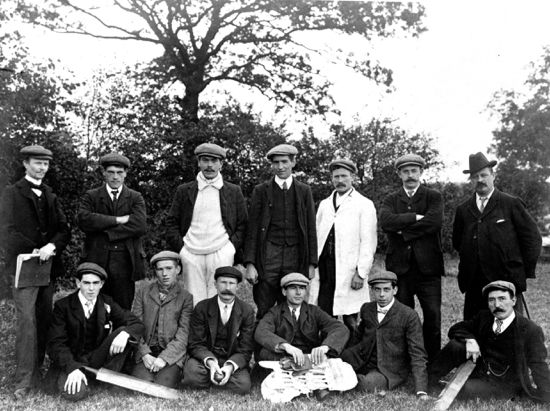 Photograph of North Mymms Cricket Club 1905. A. Marsden, C. Canham, W. Smith, H. Nash, J. Capes, H. Matthews, W. Aslett, F. Nash, H. Good, B. Rogers, B.Smith, C. Wheeler.