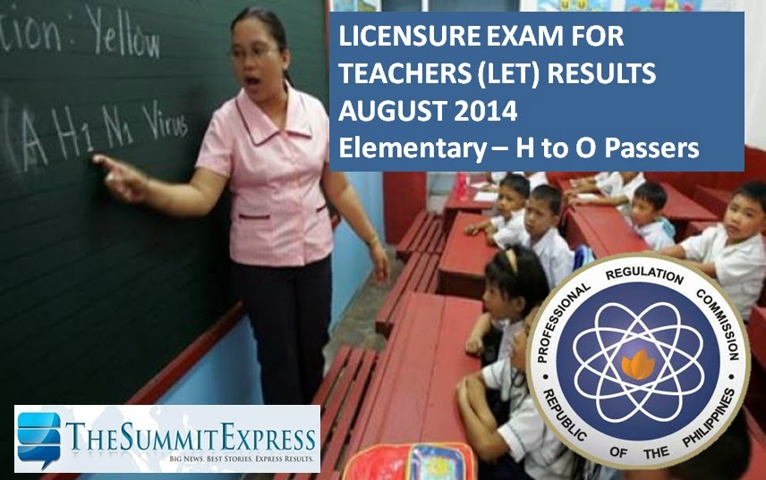 H-O Passers: LET Results August 2014 Elementary Alphabetical List