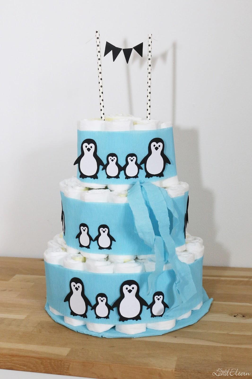 DIY  Windeltorte mit Pinguinen