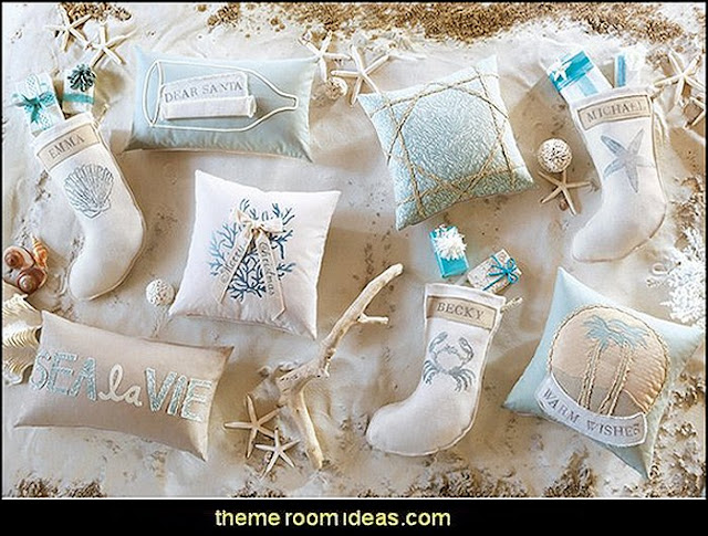 Coastal Tidings throw pillows  Coastal Christmas decorating theme - coastal Christmas decor - beach christmas  - Beach Christmas Decorations  - seaside decor - coastal ornaments - beach themed Christmas decorations - beach themed christmas tree -  sea themed ornaments -  nautical accents - beach themed ornaments - coastal Christmas tree skirts - beach & seaside decorations