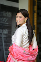 Mannara Chopra in Silky White Salwar Suit with Pink Chunni Latest Exclusive Pics March 2017 ~  028.JPG