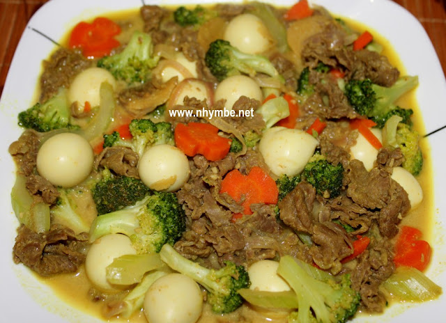Beef Broccoli Curry With Quail Eggs Recipe