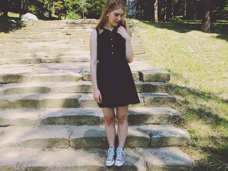 asos dress, filipa canic, filipa canic blog, flower crown,black, outfit
