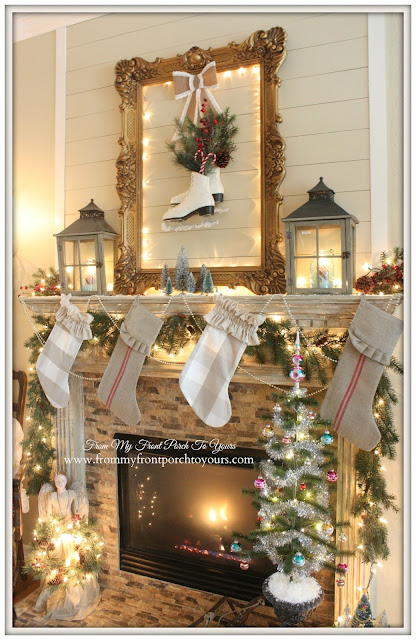 Vintage-Buffalo Check Stockings-Farmhouse-Christmas Mantel-From My Front Porch To Yours