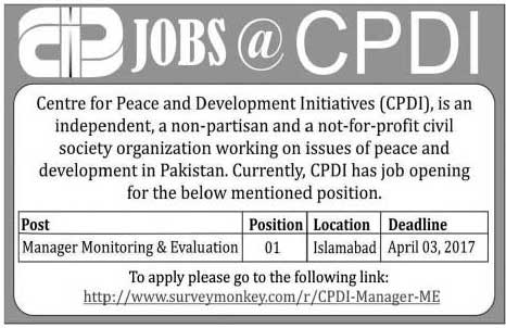 Centre for Peace and Development CPD Initiatives Islamabad Jobs