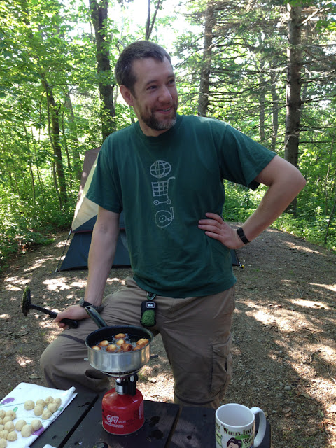 Cooking donuts at Lamoine State Park