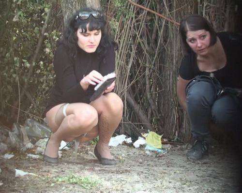PissHunters 9284-9299 (Girls pee outdoors hidden camera. Hidden cam in public toilet)