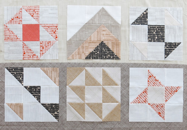 HST Quilt-Along - 6 first blocks - Auditioning a sashing fabric - Brown