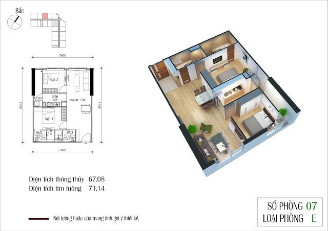Thiết kế căn 07 tòa CT2 Eco Green City