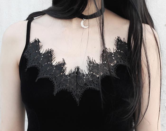 outfit, black, velvet, lace, neckline, dress, metisu, lune, nocturne,