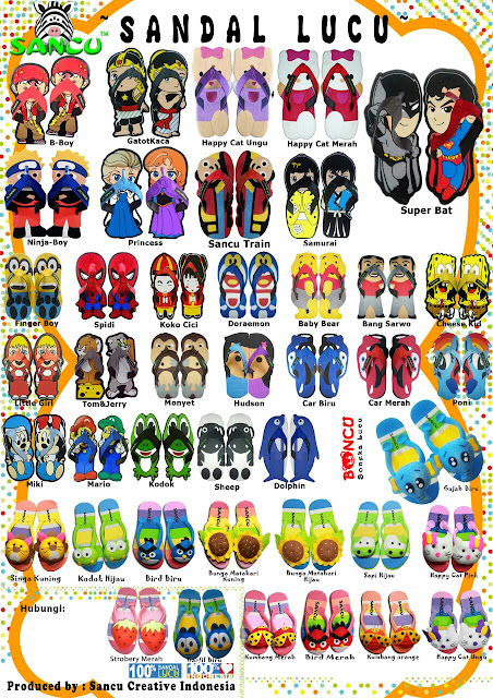 Brosur sandal lucu sancu sandal boneka lucu boncu