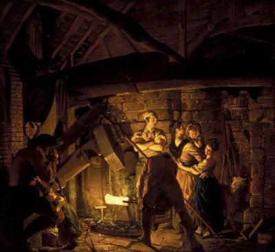 Joseph Wright of Derby - Una forja de hierro - 1772