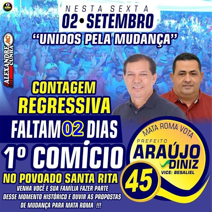 Araújo Diniz (45) realiza 1º primeiro comício dia 02 de Setembro no Povoado Santa Rita.