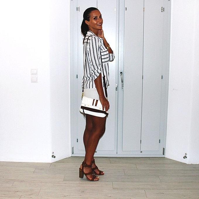 Best holiday looks with white skirt and striped shirt