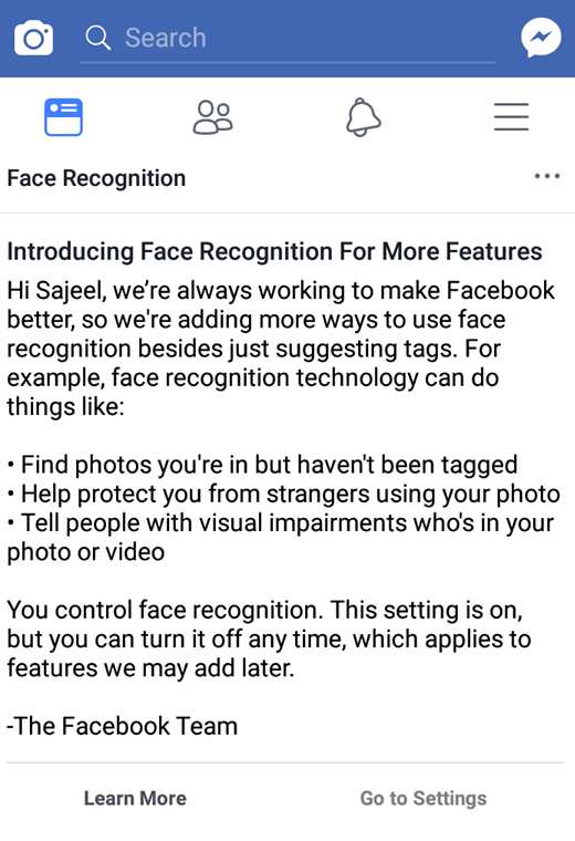 Facial Recognition Feature