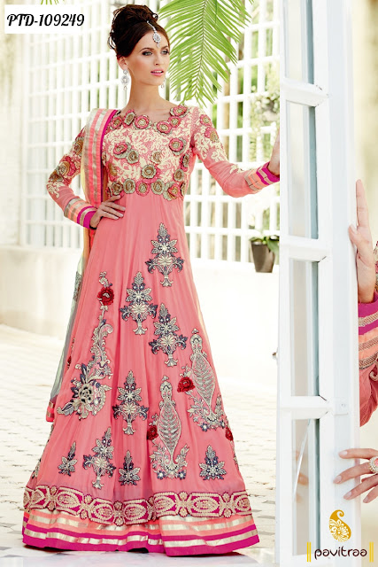 Latest Heavy Work Semi Stitched Bridal Anarkali Dresses Suits Online Shopping with Discount Price and COD in India