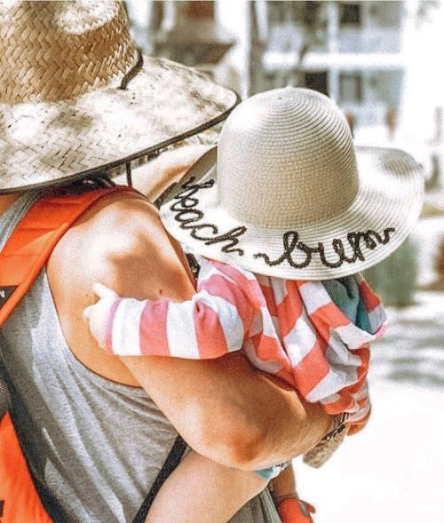 Beach Bum Baby Toddler Sun Hat Straw Custom