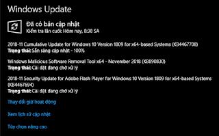 Microsoft phát hành bản cập nhật tháng 11, KB4467708 cho Windows 10 version 1809