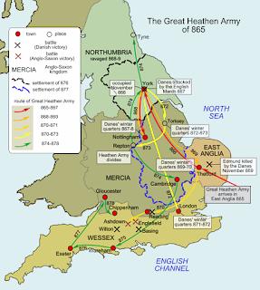 Mapa de los movimientos del gran ejército vikingo en Inglaterra