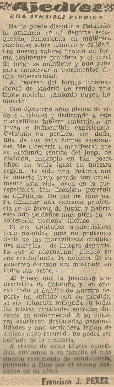 Fallecimiento de Antoni Puget González en El Noticiero Universal, viernes, 5 de junio de 1959
