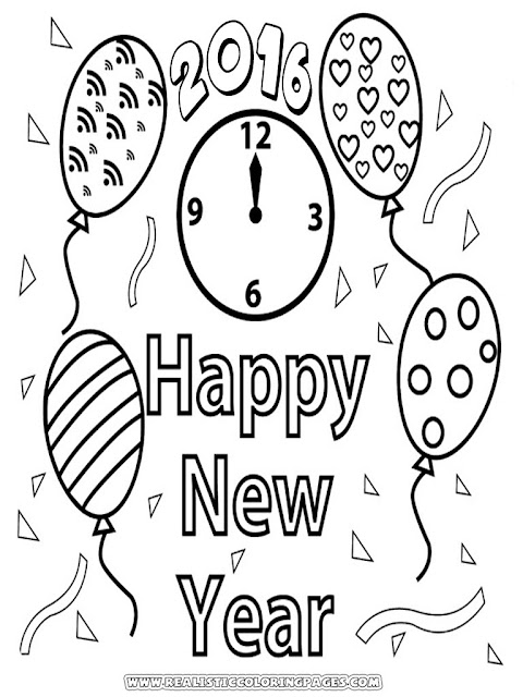 coloring pages of happy new year 2016