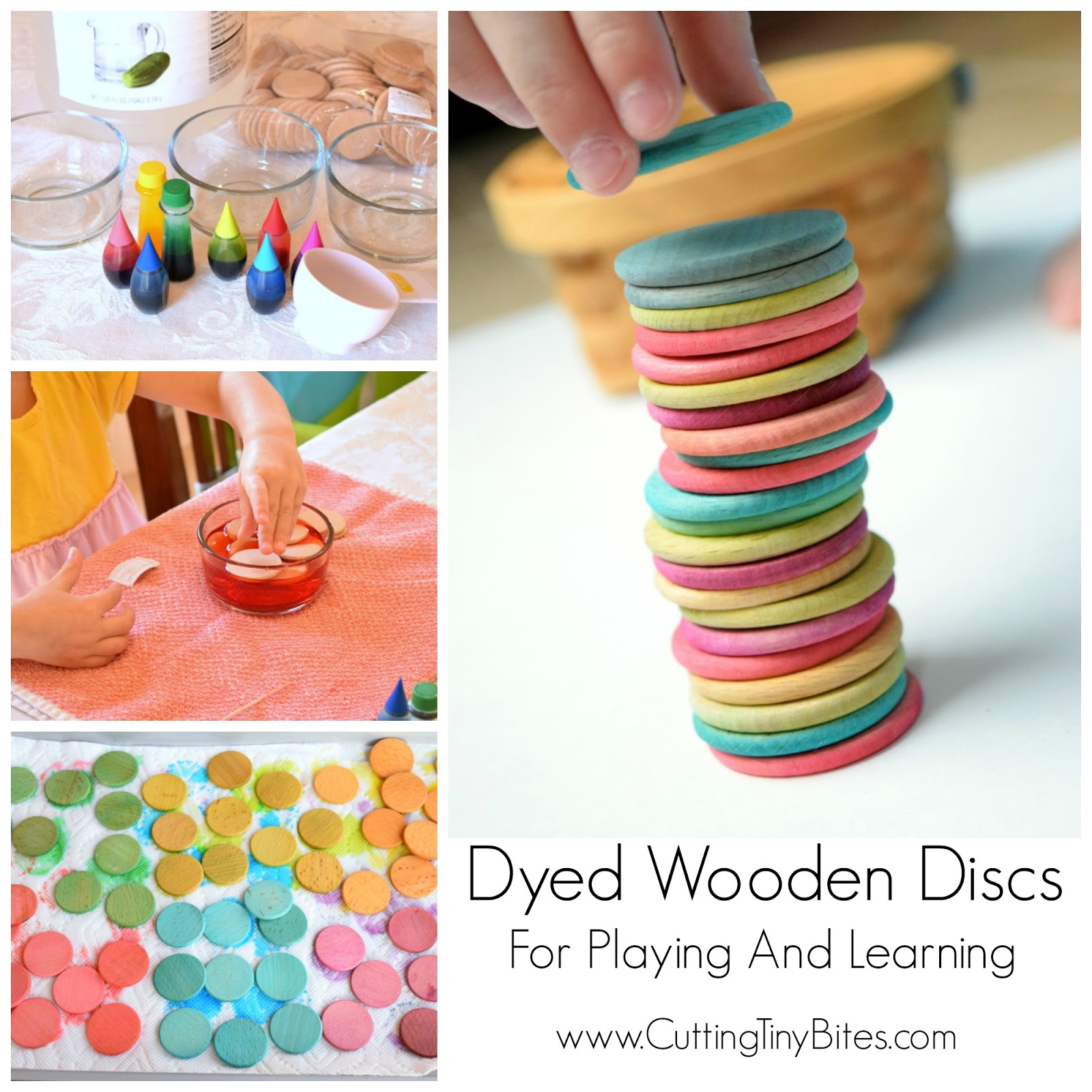 Dyed Wooden Discs For Playing and Learning