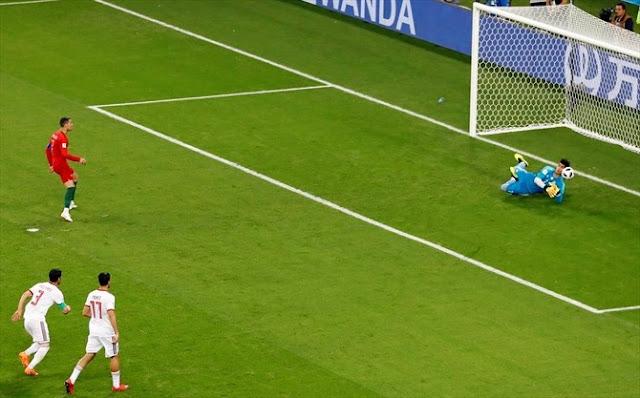 Kegagalan Cristiano Ronaldo Saat Menendang Pinalti Saat Portugal Melawan Iran 1 - 1