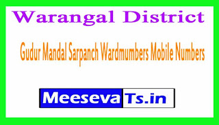 Gudur Mandal Sarpanch Wardmumbers Mobile Numbers List Warangal District in Telangana State