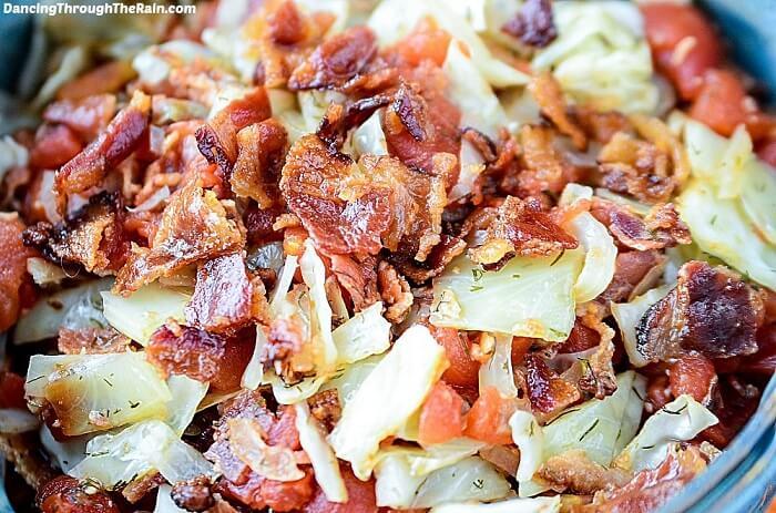 Tomato Bacon & Cabbage Saute