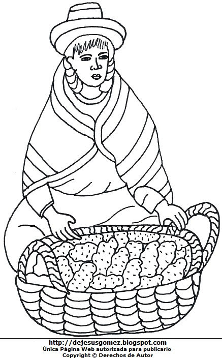 Dibujo de una mujer campesina por el Día del campesino para colorear o pintar  (Campesina con su canasta de papas). Dibujo de una campesina hecho por Jesus Gómez