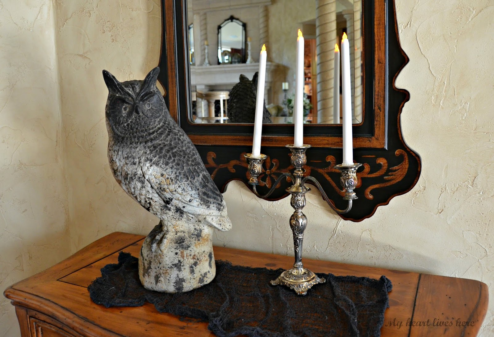 My Heart Lives Here Flipper Owl Hearty Orange This Came In From The Backyard And Candelabra Was Hiding Dining Room I Found Three Battery Powered Candles At Dollar Tree