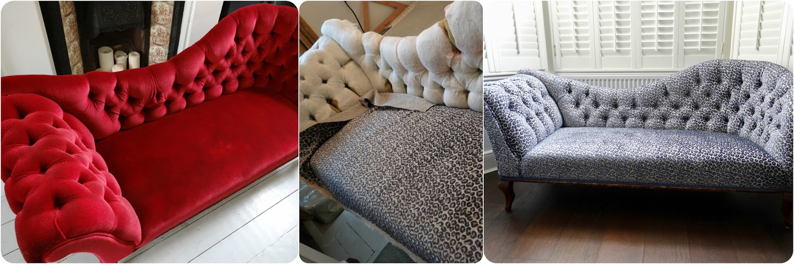 Beautiful Deep Red Chaise Longue In Need Of A Change Fabric I Stripped And Recovered It Colefax Fowler Wilde Animal Print Velvet Blue